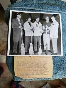 1953 HAWKESBURY CURLING CLUB DEWAR CUP CHAMPIONS ORIGINAL WIRE PHOTO