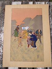 2/ Ancienne estampe pochoir aquarelle Japonaise cachet , décor personnages