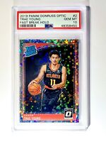 2018-19 Donruss Optic Fast Break Holo Prizm #198 Trae Young RC Rookie PSA 10
