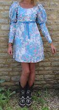 VINTAGE 1960 S QUAD manica sbuffo stampa floreale manica lunga Mini abito XS 6