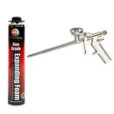 Expanding Foam Filler High Yield 750ml Gun Grade Hand Held PU Polyurethane + GUN