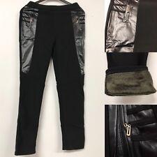 Womens Black Thermal Fleece Panel Design Plus Size Leggings Soft Winter Warm
