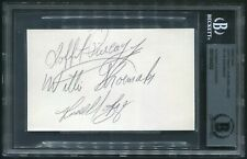 WILLIE SHOEMAKER LAFFIT PINCAY JR RUSSELL BAZE SIGNED CARD TOP 3 WIN JOCKEYS BAS