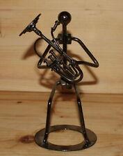 Vintage hand made abstract artwork metal figurine tuba player