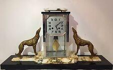 Raro Reloj De Bronce Art Deco con perros Borzoi/Levrier
