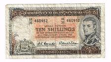 AUSTRALIA (1961-1965) TEN SHILLINGS COOMBS WILSON CAPT JAMES COOK WATERMARK P.33