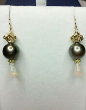 Tahitian Pearl earrings solid 14k gold flower 1ct  Ethiopian fire opal pear drop
