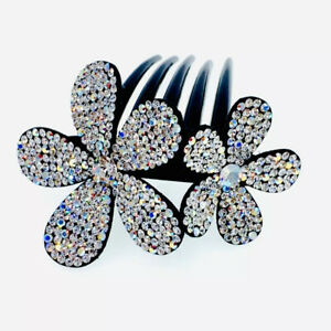 Handmade Leather Hair Comb made with Swarovski Crystal Hairpin Twist Silver AB