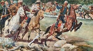 """Warren Baumgartner -Cowboy Illustration """"The Raiders"""" -Vincent Price Collection"""