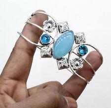 """Plated Jewelry Cuff Bracelet S-7-8"""" Chalcedony & Topaz Gemstone Silver"""