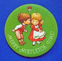 Hallmark BUTTON PIN Christmas Vintage Mary Hamilton MISTLETOE TIME Holiday