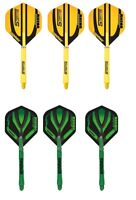 Winmau Stratos Yellow Dart Flights Dart Stems or Crisis Green Stems and Flights