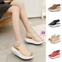Women Ankle Strap Buckle Block Solid High Heel Shoes Ladies Peep Toe Sandals