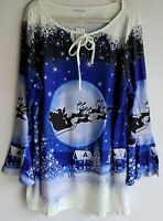 Rose Gal Holiday Reindeer Bell Sleeve Tunic Size 5X(fits Like 3X)