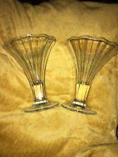 2x Vintage Cavello Italy Large Ice Cream Sundae / Desert  Faceted Bowl Glasses