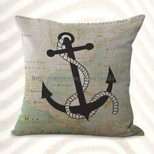 Us Seller- ocean coastal sailing world map anchor cushion cover decor home