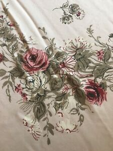 """Vtg Small Pink Floral Tablecloth  38"""" x 33"""""""