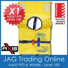 AXIS ADULT PFD1 LIFEJACKET LEVEL L100 Standard Life Jacket/Vest & SAFETY WHISTLE