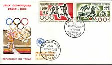 1076+ FDC ENVELOPPE 1er JOUR TCHAD  FOOTBALL  JEUX OLYMPIQUES 1964