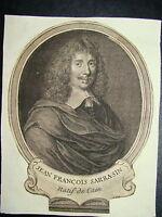 Gravure XVIIIe Portrait JEAN FRANCOIS SARRASIN LITTERATURE CAEN FRONDE LOUIS XIV