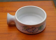 "White Pottery Soup Bowl 4 1/4"" Diameter Floral Blue Flower Signed by Artist"