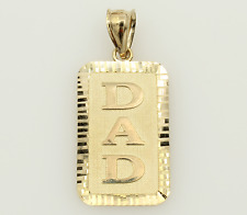 14K Solid Real Yellow Gold DAD Tag Diamond Cut Charm Pendant 25mm 1.0""