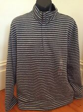 Brand New Mens Nautica Grey Striped Fleecy 1/2 Zip Jumper Size XL