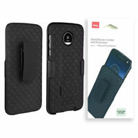 Verizon Shell - Holster Combo Kickstand Case For Motorola Moto Z Droid - Black