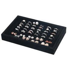 Black Velvet Ring Earring Jewelry Display Show Case Organizer Shelf Boxes Tray