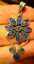Superb Large & Stylish Sterling Silver & Blue Chalcedony Pendant