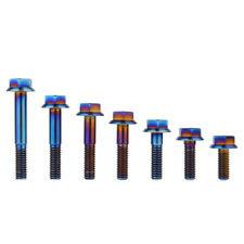 Rockbros M8 Titanium Ti Hex Head Cap Bolts Flange Bolt 1.25mm Pitch 1 Pc Blue