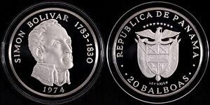Panama 1974 20 Balboas Silver Proof Coin - Simón Bolívar