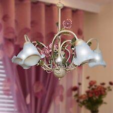 Lampadario sospensione 5L arte povera classico ferro battuto fiori foglie rose