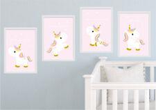 4er Bild Set Einhörner Kunstdruck Spruch Einhorn Kinderzimmer rosa Wandbild K045