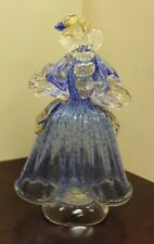 Glass Of Venice Murano Glass Venetian Goldonian Lady Dancer Blue & 14K Gold 9""