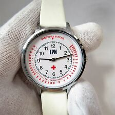 "NURSE,LPN,""Base Pulse Dial,Stainless & White Leather"" UNISEX NURSE WATCH,491"