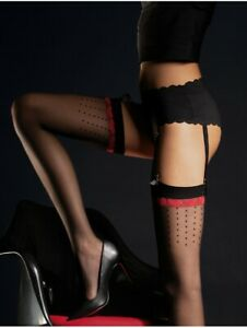 Fiore LOVELY 20 Den Sexy Stockings Patterned Polka Dots Red Hearts Hot UK STOCK