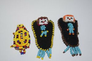 Lot 3 Native American Beaded Papoose Dolls Turtle Beadwork Pins Miniature 6