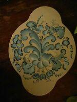 """Handpainted Rosemaling Blue by Pearl Folk Art Wall Decor Norwegian Art 12"""""""