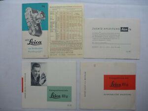 Leitz/Leica III g Anleitungen aus 1957/58, Faltblätter '58 und Blitzlicht-Tabell