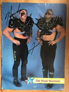 Road Warriors Hawk & Animal LOD Signed Autographed Magazine Photo Luger Reverse