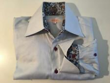NWOT XOOS Blue with Flower Print Details Cotton Fitted Shirt sz 3 (M- 15/15.5)