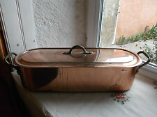 French copper fish seafood poacher steamer copper rivets brass handle with lid