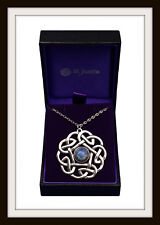 CELTIC PENTAGON & OPALISED GLASS PENDANT NECKLACE PEWTER ~ ST. JUSTIN ~ FREE P&P