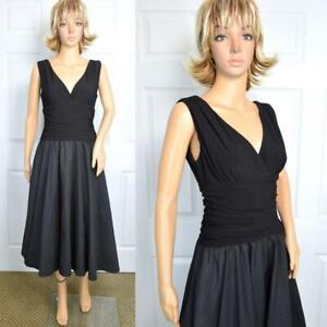 VTG 90s Jessica Howard Black Plunging Drape Stretchy Bodice Full Skt Party Dress