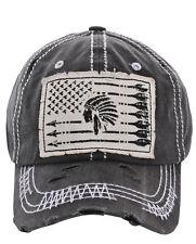 American Flag Arrow Chief Factory Distressed Vintage Black Cap Hat