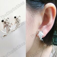 CLIP ON crystal CURVED HUGGIE dolphin EARRINGS silver rhinestone half hoop fish