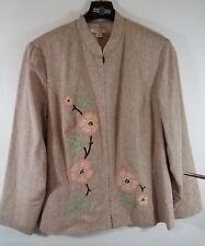 Dressbarn Jacket 2x Linen Rayon Floral Embroidered Beige Zip-Up Women's