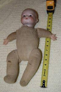 Antique AM Armand Marseille Dream Baby Doll Germany Bisque Head Cloth Body Crier