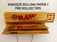 RAW CLASSIC KING SIZE SLIM NATURAL UNREFINED ROLLING PAPERS + PRE-ROLLED TIPS